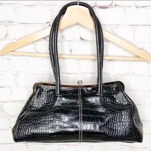 Nine West Black Crocodile Embossed Handbag